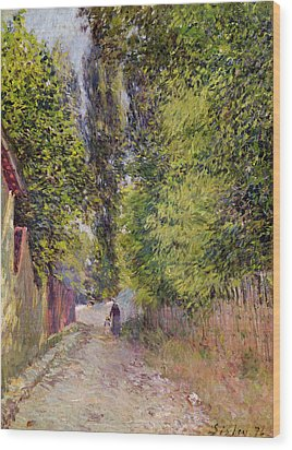Landscape Near Louveciennes Wood Print by Alfred Sisley