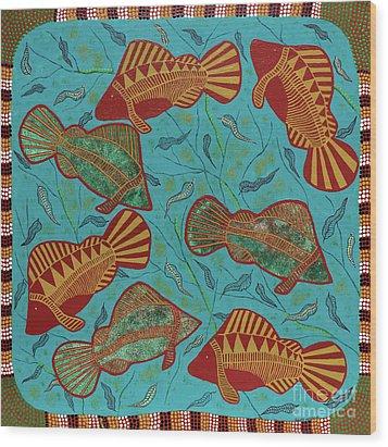 Large Barramundi Swimming  Wood Print