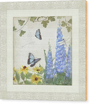 Wood Print featuring the painting Le Petit Jardin 1 - Garden Floral W Butterflies, Dragonflies, Daisies And Delphinium by Audrey Jeanne Roberts