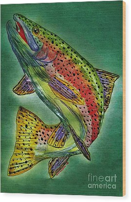 Leaping Trout Wood Print