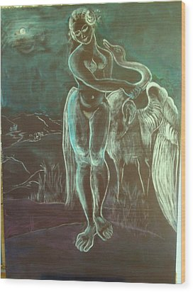 Leda And The Swan Wood Print by Michele D B