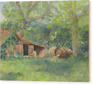 Leftover Hay Wood Print by Lorraine McFarland