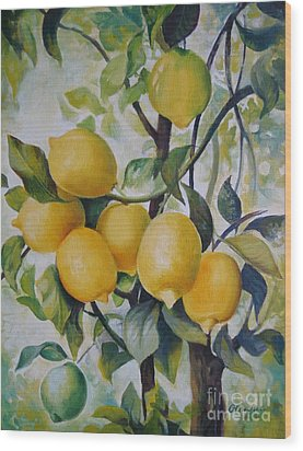 Wood Print featuring the painting Lemons by Elena Oleniuc