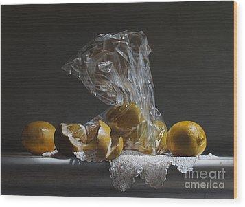 Lemons Wood Print by Larry Preston