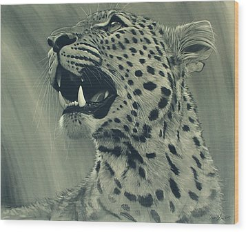 Leopard Portrait Wood Print by Aaron Blaise