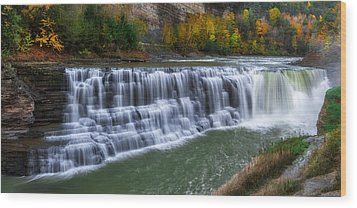 Wood Print featuring the photograph Letchworth Lower Falls by Mark Papke