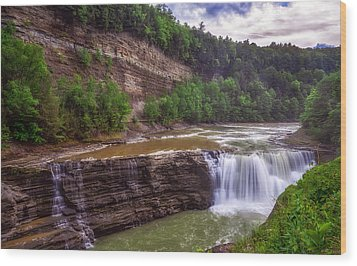 Wood Print featuring the photograph Letchworth State Park Lower Falls by Mark Papke