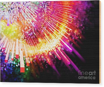 Lighting Explosion Wood Print by Setsiri Silapasuwanchai