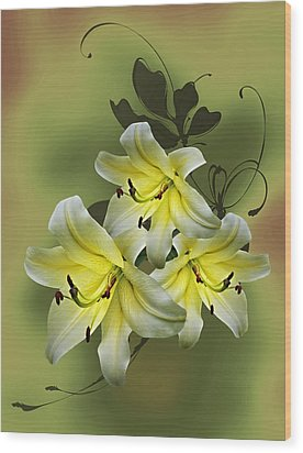 Lily Trio Wood Print by Judy Johnson