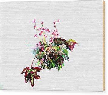 Linda Begonia Wood Print by Mindy Newman