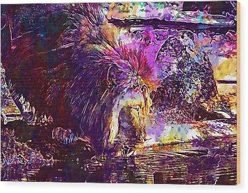 Wood Print featuring the digital art Lion Cat Zoo Male Big Cat Africa  by PixBreak Art