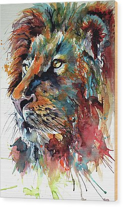 Wood Print featuring the painting Lion by Kovacs Anna Brigitta