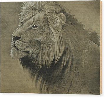 Wood Print featuring the digital art Lion Portrait by Aaron Blaise