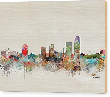 Wood Print featuring the painting Little Rock Arkansas by Bri B