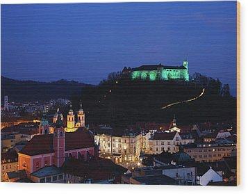 Ljubljana Castle Wood Print by Ian Middleton