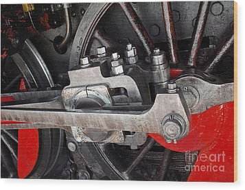 Locomotive Wheel Wood Print by Carlos Caetano