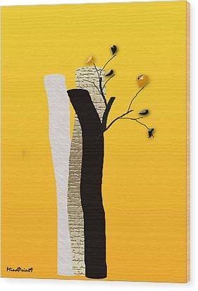 Log Flowers Wood Print by Asok Mukhopadhyay