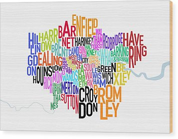 London Uk Text Map Wood Print by Michael Tompsett