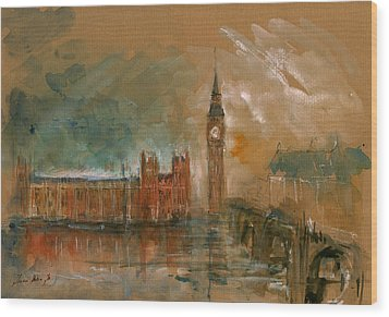 London Watercolor Painting Wood Print by Juan  Bosco