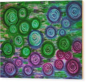 Looking Down On Umbrellas-trois Wood Print by Brenda Higginson