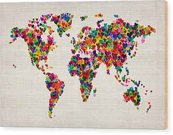 Love Hearts Map Of The World Map Wood Print by Michael Tompsett
