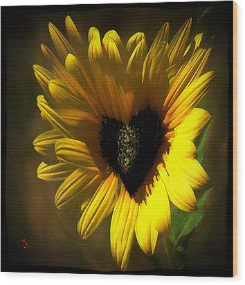 Love Sunflower Wood Print