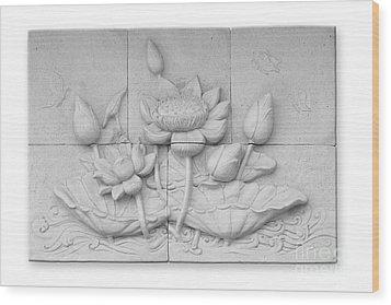 Low Relief Cement Thai Style  Wood Print by Phalakon Jaisangat