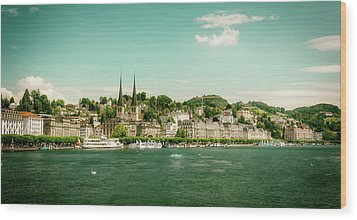 Wood Print featuring the photograph Lucerne Panorama by Wolfgang Vogt