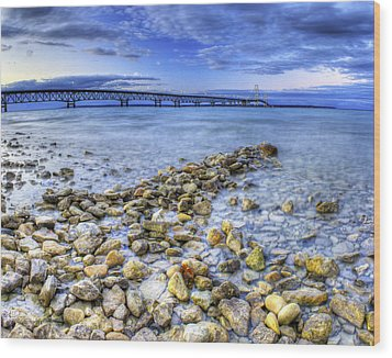 Mackinac Bridge From The Beach Wood Print by Twenty Two North Photography