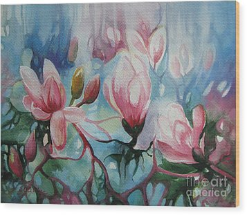 Wood Print featuring the painting Magnolia by Elena Oleniuc