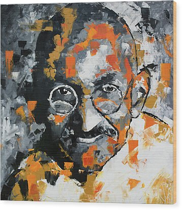 Wood Print featuring the painting Mahatma Gandhi by Richard Day