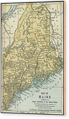 Maine Antique Map 1891 Wood Print