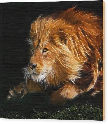 Male Lion Fractal Wood Print by Julie L Hoddinott