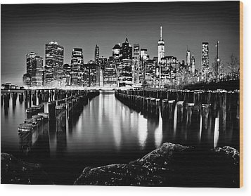 Wood Print featuring the photograph Manhattan Skyline At Night by Az Jackson