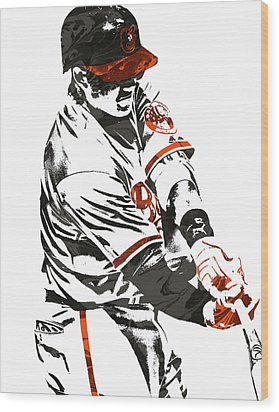 Manny Machado Baltimore Orioles Pixel Art Wood Print by Joe Hamilton