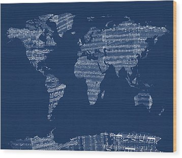 Map Of The World Map From Old Sheet Music Wood Print by Michael Tompsett