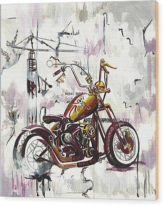 Mapped Motorcycle Wood Print by Lauren Penha