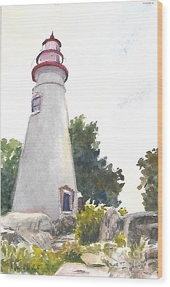 Marblehead Lighthouse Wood Print by Terri  Meyer