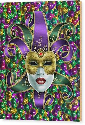Mardi Gras Mask And Beads Wood Print