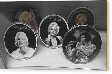 Marilyn And Elvis Wood Print by Daniel Hagerman