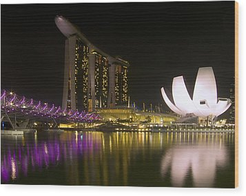 Marina Bay Sands Hotel And Artscience Museum In Singapore Wood Print