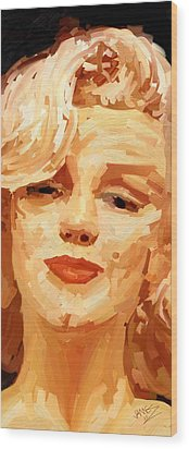 Wood Print featuring the painting Marylin Monroe 3 by James Shepherd