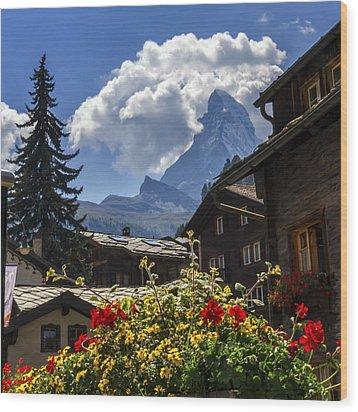 Matterhorn And Zermatt Village Houses, Switzerland Wood Print