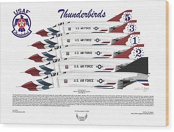 Mcdonnell Douglas F-4e Phantom II Thunderbirds Wood Print by Arthur Eggers