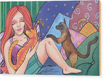 Wood Print featuring the painting Me And My Cats by Sarah Crumpler