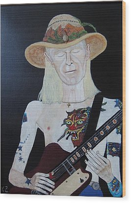 Mean Town Blues.johnny Winter. Wood Print by Ken Zabel