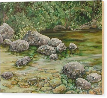 Meandering Stream Wood Print by Val Stokes