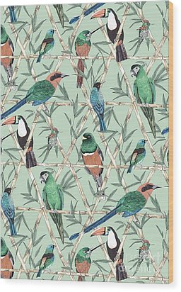 Menagerie Wood Print by Jacqueline Colley