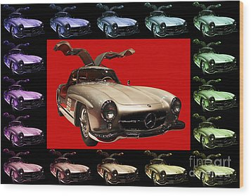 Mercedes 300sl Gullwing . Front Angle Artwork Wood Print by Wingsdomain Art and Photography
