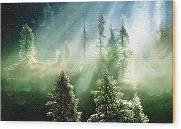 Merry Christmas Wood Print by Angela A Stanton
